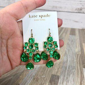 Kate Spade NY Green Colored Stone Dangle Earrings